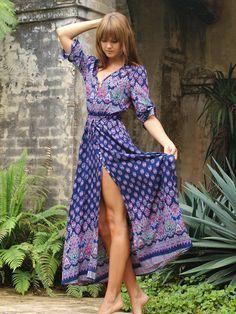 Boho Kleid V-Ausschnitt mit Vintage Druck und Schlitz vorne -blau- German SheIn(Sheinside)