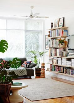 Bright Open space with wall-shelving