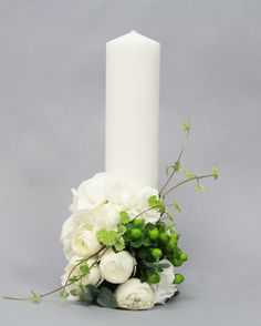 Baptism Candle, Ranunculus, Pillar Candles, Wedding Centerpieces, Presents, Green, Giant Paper Flowers, Paper Envelopes, Gifts