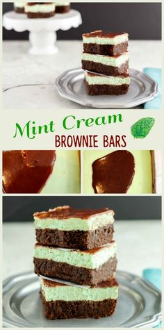 Cream Mint Brownie Bars- gluten free, low carb, keto, and primal. Fudge brownies with a Minty cheesecake layer and chocolate ganache on top. A clean eating treat!