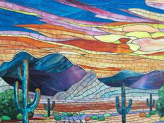 mosaic by Suzanne Tremblay Arizona landscape with saguaro cactus