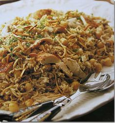 Lebanese Recipes, Chicken Chick peas rice, teaspoon cinnamon, ghee, clove garlic