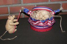 Primitive Folk Art Patriotic Americana Mouse by thenightowlstudio, $46.95