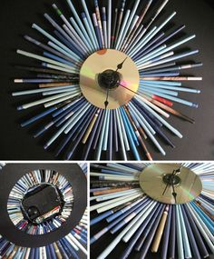 CD Recycled Art Projects | Recycled CD SunBurst Clock