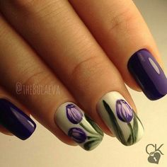 Ladies, how about trying tulip nails? Tulip Nails, Rose Nails, Purple Nails, Flower Nails, My Nails, Spring Nail Art, Nail Designs Spring, Spring Nails, Nail Art Designs