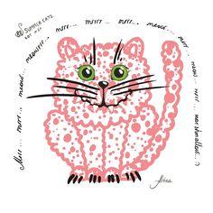 "KOT #24 from the 88 SUMMER CATS collection ""Mrrr… mrrr… meow… meowrrr… mrrr… mrrrr… mrrr… meow… mrrr… meow… mrrr… marshmallow… :) ""  #88summercats #art #print #kot #cat #catart #qoute #kotquote #smile #smilingcat #happycat"