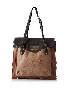 Be Women's Devin Top Flap Tote, Chocolate/Gold
