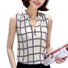 Blusas Feminino Chemise Femme Women Blouses Summer Shirts Sleeveless Blouse Hot Plaid Tops Tunic Chiffon Casual Ladies Plus Size