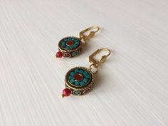 Tribal Earrings, Ethnic Earrings, Circle Earrings, Boho Jewelry, Birthday Gift, Gypsy Earrings, Nepal Jewelry, Turquoise and Coral Earrings by GULDENTAKI on Etsy https://www.etsy.com/listing/215856947/tribal-earrings-ethnic-earrings-circle