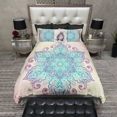Queen size duvet cover Boho Blue and Purple Mandala Bedding Paisley Bedding, Purple Bedding, Duvet Bedding Sets, Linen Bedding, Bed Linens, Gray Comforter, King Comforter, Purple Bedrooms, Teen Girl Bedrooms