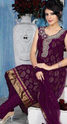 Wine Sleeveless Net Anarkali Suit 15350