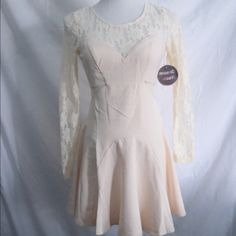 LF Cream Dress Cream colored skater dress with lace fabric along neckline and sleeves. Zipper and button closure in back. New with tags. Open to all reasonable offers!Discounted bundlesNo trades LF Dresses