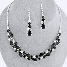 Jet Black Crystal Rhinestone Formal Wedding Bridal Prom Party Pageant Bridesmaid Evening Teardrop Jewel Collar Necklace Earrings Set Elegant Costume Jewelry