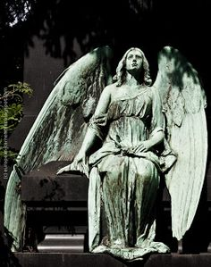 """Melaten-Friedhof"" (Melaten Cemetery) in Cologne. It's one of the most important cemeteries in Germany Cemetery Angels, Cemetery Statues, Cemetery Art, Angel Statues, Angels Among Us, Angels And Demons, Old Cemeteries, Graveyards, I Believe In Angels"