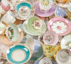 Aim: to mix and match beautiful vintage crockery