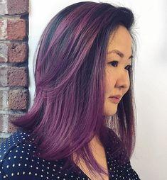 Black Hair 40 Stunning Medium Hairstyles for Round Faces Black Hair With Purple Balayage Purple Hair Highlights, Ombre Hair Color, Hair Color Balayage, Hair Colors, Medium Hair Cuts, Medium Hair Styles, Long Hair Styles, Medium Bobs, Short Styles