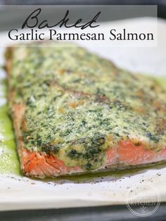 Baked Garlic Parmesan Salmon {Primal, Low-Carb & Keto} www.healthstartsi… Baked Garlic Parmesan Salmon {Primal, Low-Carb & Keto} www. Keto Foods, Salmón Keto, Ketogenic Recipes, Keto Recipes, Healthy Recipes, Dessert Recipes, Healthy Fats, Ketogenic Diet, Dukan Diet