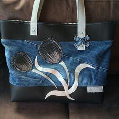 sac le tulipe noir en jean et simili : Sacs à main par sur-fil