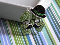 St. Patty's Day Shamrock Rhinestone Pendant  Moustache Glasses & Bowler Hat Bubble Necklace Key Chain Zipper Pull Jewelry Holiday Ornament by HouseofHairDecor on Etsy
