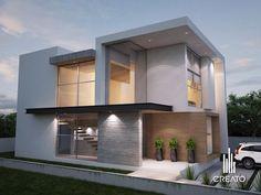 Facade by Creato Arquitectos Minimalist Architecture, Contemporary Architecture, Architecture Design, Contemporary Design, Villa Design, Modern House Plans, Modern House Design, Modern Exterior, Exterior Design