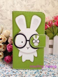 Cute Green Rabbit Glasses Cartoon wallet slot flip Case cover for Nokia 710, ~5,80€