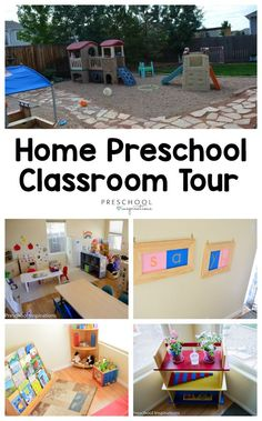 Get ideas for a preschool classroom, family child care program, or home preschool program by taking a tour of my preschool classroom. Take a peek into this in-home classroom designed by a teacher who went from teaching in schools to her own home. Preschool Set Up, Preschool Classroom Setup, Daycare Setup, Daycare Organization, Preschool Rooms, Preschool Programs, Preschool Centers, Toddler Classroom, Home Daycare