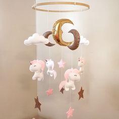 Unicorn cot mobile, Unicorn theme nursery decor and inspiration