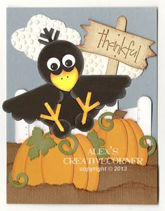 Baby Crow Punch Art by punch-crazy - Cards and Paper Crafts at Splitcoaststampers Paper Punch Art, Punch Art Cards, Fall Cards, Holiday Cards, Arte Punch, Thanksgiving Cards, Halloween Cards, Kids Cards, Cute Cards