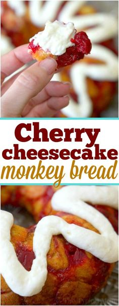This sweet cherry cheesecake monkey bread is just amazing! For breakfast or dess… This sweet cherry cheesecake monkey bread is just amazing! For breakfast or dessert it's easy to make and you can use any flavor pie filling you want. via The Typical Mom Homemade Monkey Bread, Apple Monkey Bread, Monkey Bread Muffins, Cinnamon Roll Monkey Bread, Homemade Breads, Best Breakfast Casserole, Breakfast Recipes, Breakfast Dessert, Breakfast Cheesecake