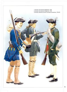 Provincial infantry - L to R; Private Pennsylvania Regiment 1760, Private Pennsylvania Regiment 1758 & Private Delaware(Lower  Counties) Companies 1758-59