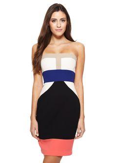 ideeli | BCBGMAXAZRIA Strapless Colorblock Reese Dress