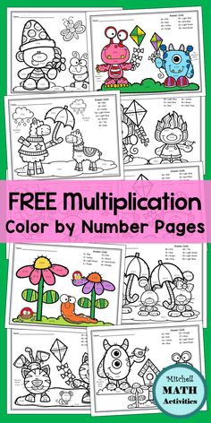 FREE collection of 11 Multiplication Color by Number pages with a fun spring theme! The set includes a focus page for each of the multiples of 2 through - Kids education and learning acts Math Multiplication Worksheets, Multiplication Strategies, Maths, Mental Math Strategies, Free Math Worksheets, Math Fractions, Printable Worksheets, Printables, Math Resources