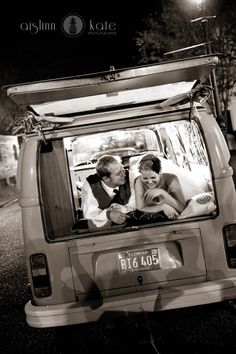 black and white bride and groom in volkswagen bus  museum of commerce (pensacola, florida)