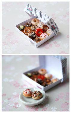 Krispy Kreme Doughnuts by Zhoira on DeviantArt All The Small Things, Mini Things, Christmas Minis, Christmas Desserts, Doughnut Stand, Krispy Kreme Doughnut, Clay Miniatures, Dollhouse Miniatures, Cupcakes