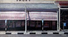 Blind, Grahamstown, 2014 oil on canvas Artist, John Kramer Corner Cafe, South African Artists, Cape Town South Africa, Unique Paintings, Oil On Canvas, Blind, Outdoor Decor, Ideas, Coffee Nook