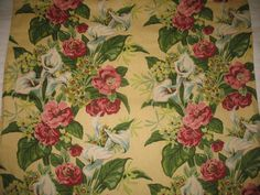"""Stunning calla lily and antique rose garland double cascade design. Heavy, highly textured fabric......This is a fully lined, weighted drape panel with a pleating tape header. 42.5"""" in width and 95"""" in length. $115.00."""