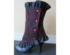 Burgundy Brocade Spats by RhiBeeBoutique on Etsy
