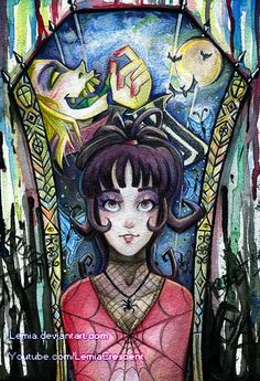 Watercolor Lydia Deetz and Beetlejuice by LemiaCrescent on @DeviantArt