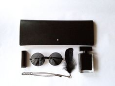 BLACK COLLECTION--Handmade Minimalism Black Leather clutch-Large on Etsy, $78.00