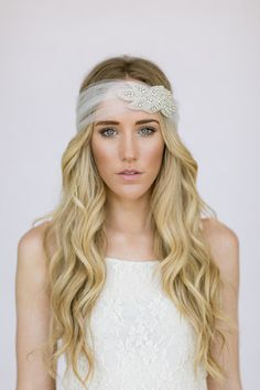 boho wedding crystal tulle headband head piece