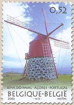 Sello: Portugal-Belgium Joint Issue: Windmill Ilha Do Faial (Bélgica) (Windmills) Mi:BE 3142,Yt:BE 3086,Bel:BE 3092