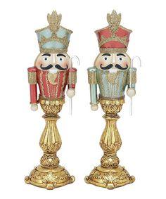Look at this #zulilyfind! Candlestick Nutcracker Figurine Set #zulilyfinds