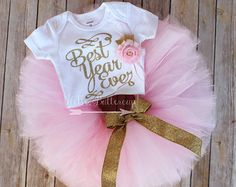 Gold first birthday tutu outfit Gold glitter One by HelloButtercup