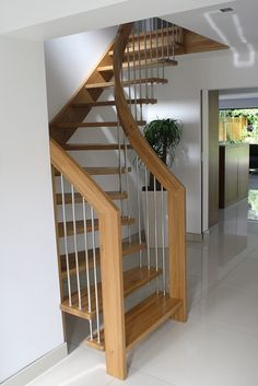 Alluring Design Ideas Of Small Space Staircase With Brown Wooden Treads And Handrails Also Stainless Steel Balusters As Well As Staircase Manufacturers Plus Space Saving Staircase Design, Chic Small Space Staircases Design Ideas: Furniture Rustic Staircase, Loft Staircase, Timber Staircase, Staircase Railings, House Stairs, Staircase Ideas, Attic Stairs, Railing Ideas, Cottage Stairs