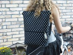 Minimalist Backpack Vegan City backpack Polka dots by skbag