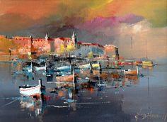 Branko Dimitrijevic, Night on the Sea, Oil on canvas, Hyper Realistic Paintings, Boat Painting, Native American Art, Portrait Art, Artist Art, Art Oil, Landscape Paintings, Abstract Art, Fine Art