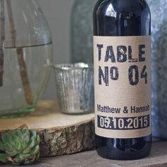 Wine Bottle Table Numbers Rustic Personalised - The Wedding of My Dreams