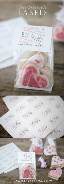 """Not only do you get this darling printable but also the recipe for the sugar cookies to tuck inside!   Free Printable """"Be Mine"""" Label for Valentine's Day Gifts  http://jennysteffens.blogspot.com/2012/01/be-mine-free-printable-tags-for.html"""