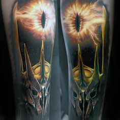 3d Forearm Sleeve Cool Male Eye Of Sauron Tattoo Designs