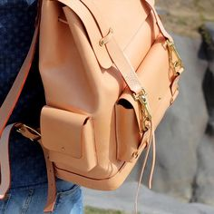 Leather bag & solid brass #backpack #leatherbags #handcrafted #womensbag #womenstyle #vegtan #brass